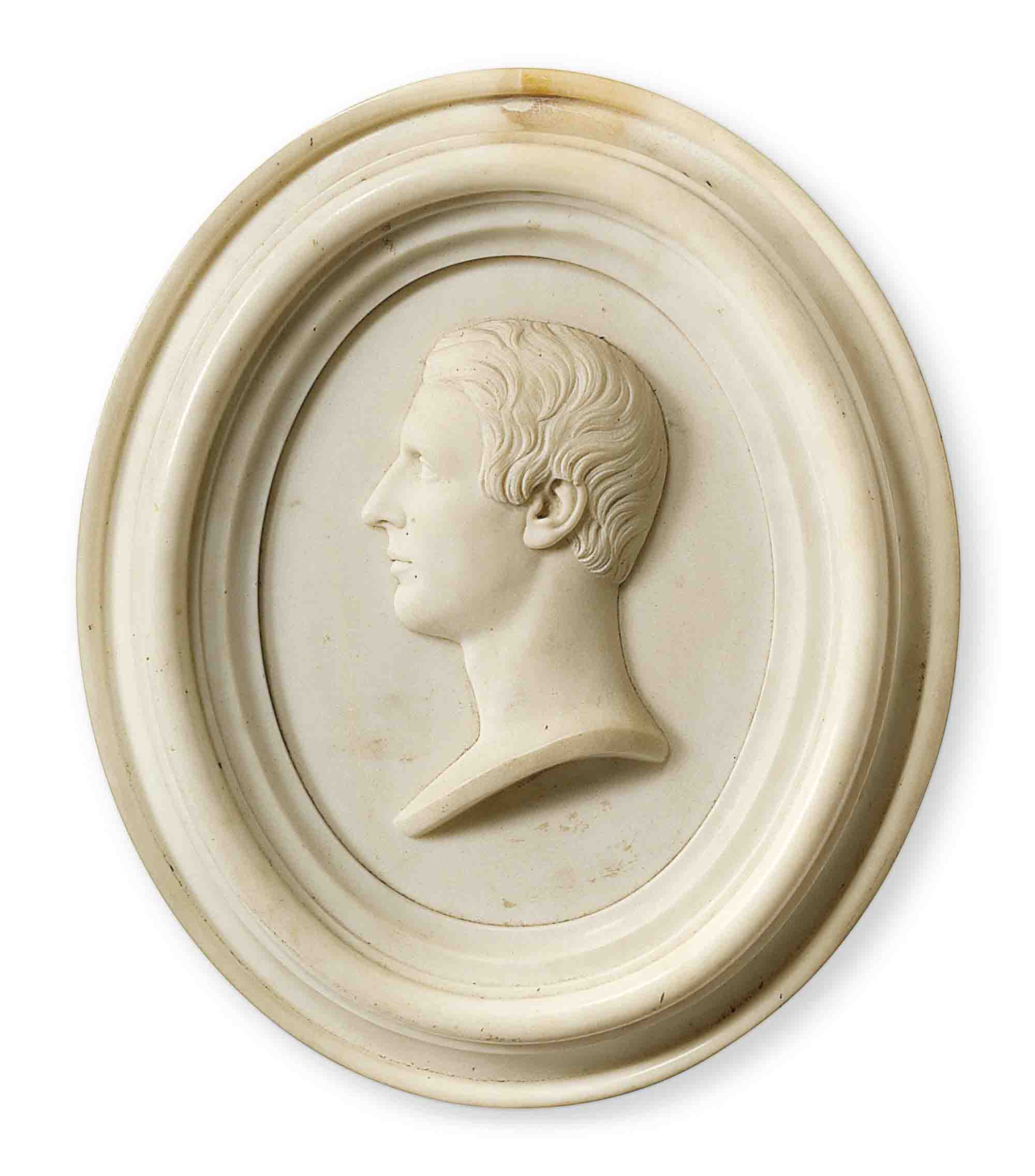 AN OVAL WHITE MARBLE BAS-RELIEF PROFILE PORTRAIT OF A GENTLEMAN