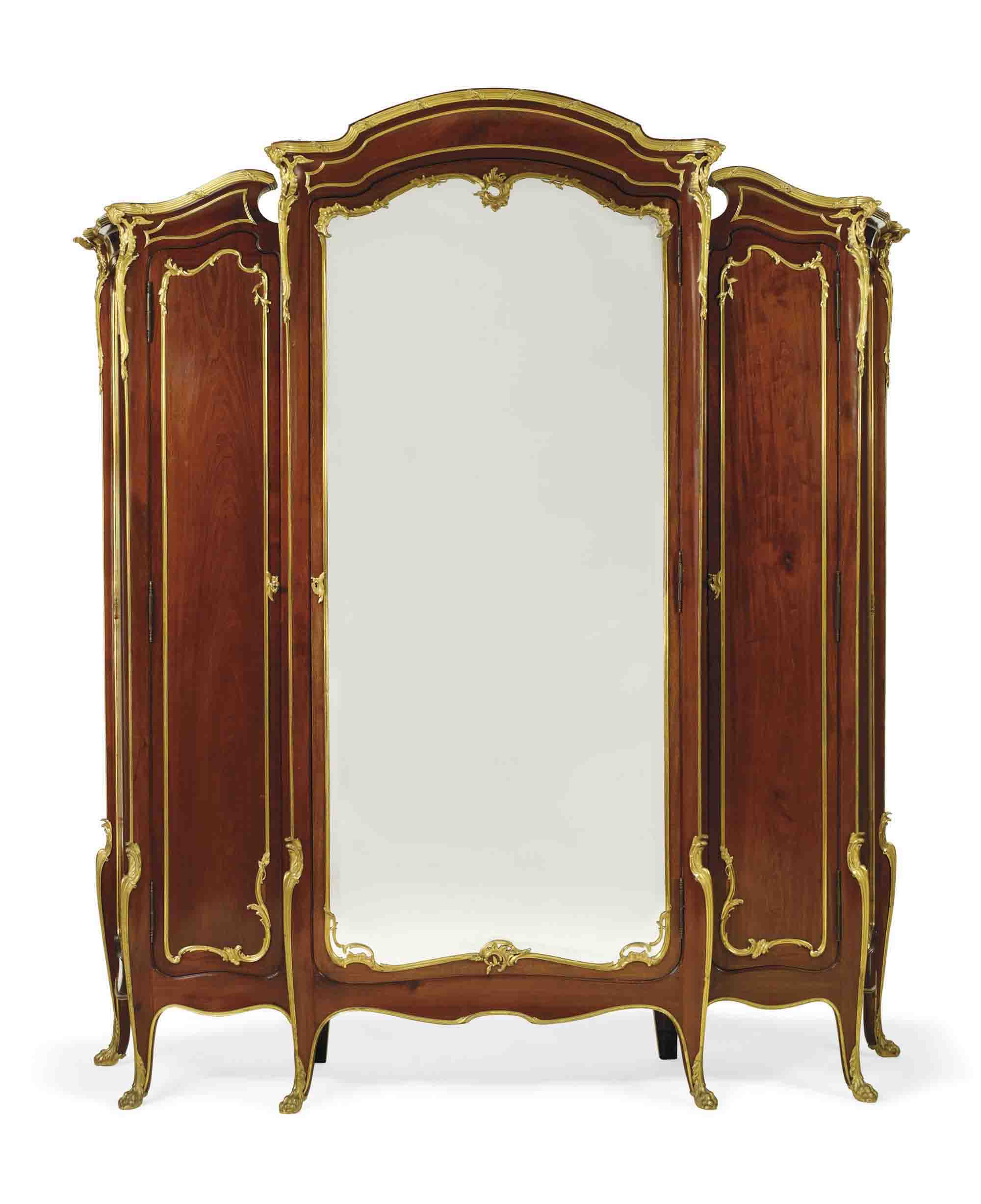 A FRENCH ORMOLU-MOUNTED MAHOGANY ARMOIRE