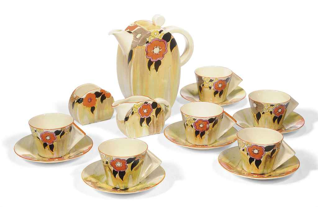 A CLARICE CLIFF JONQUIL BONJOUR COFFEE SET