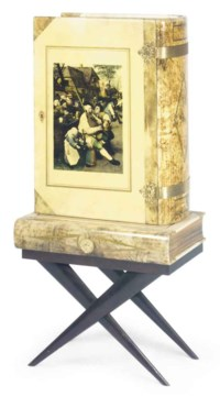 AN ALDO TURA PARCHMENT AND BURR-WALNUT VENEERED BRASS MOUNTED COCKTAIL CABINET