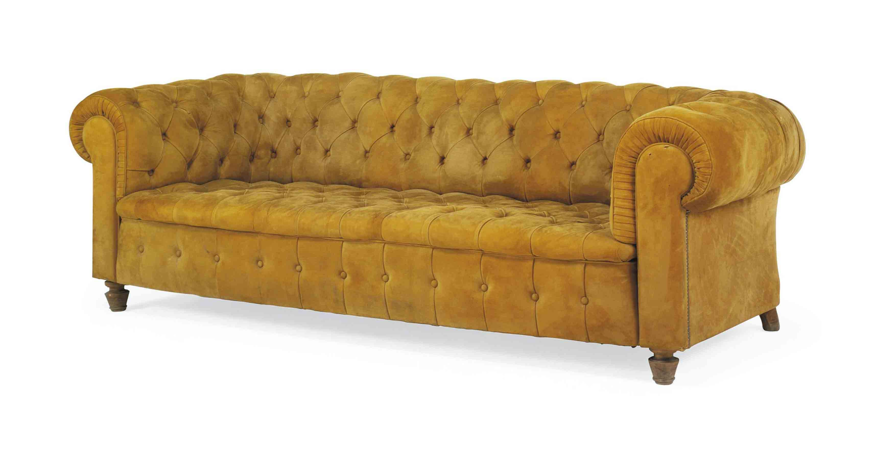A Spanish Oned Suede Chesterfield