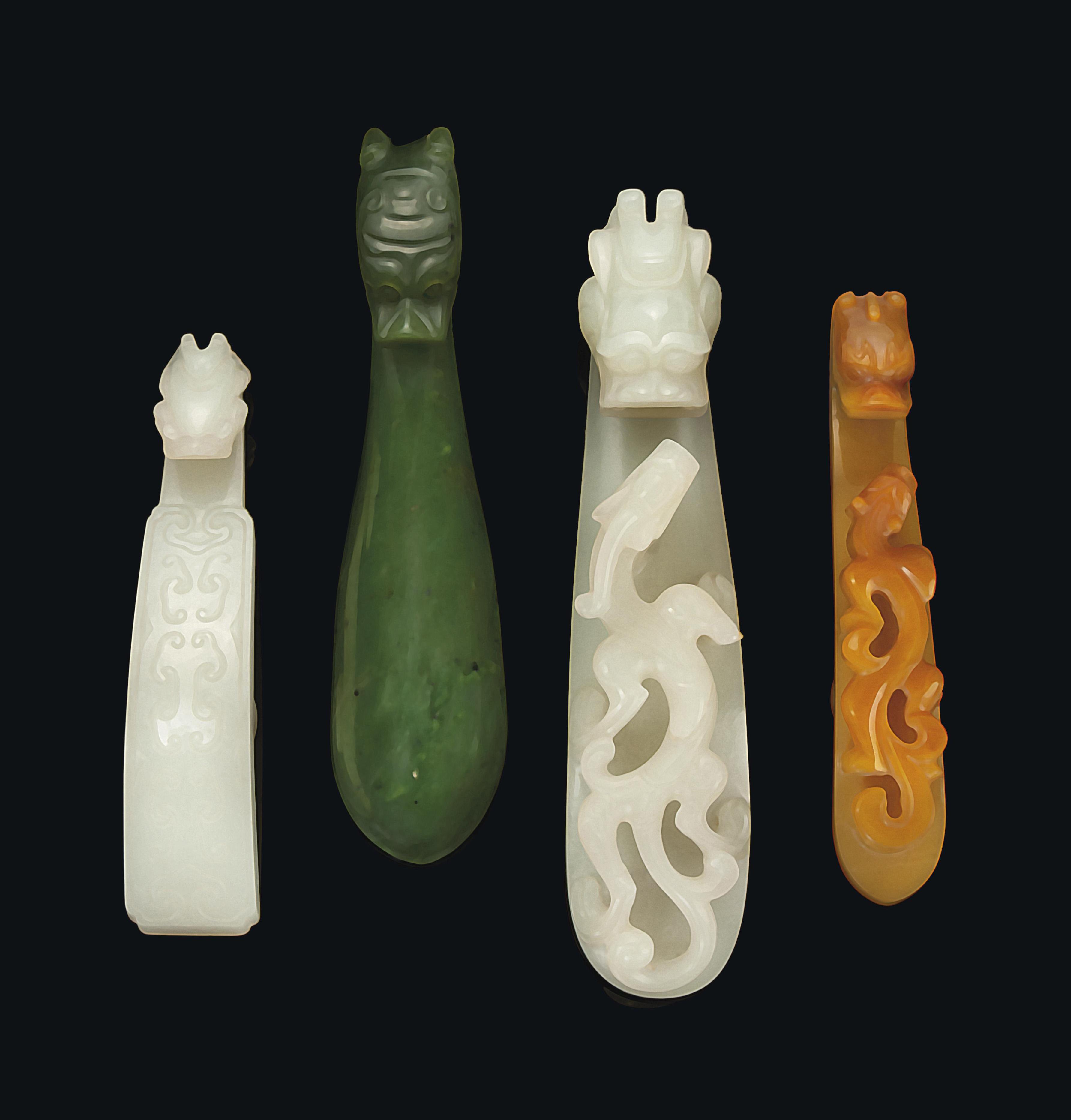 THREE CHINESE JADE BELT HOOKS