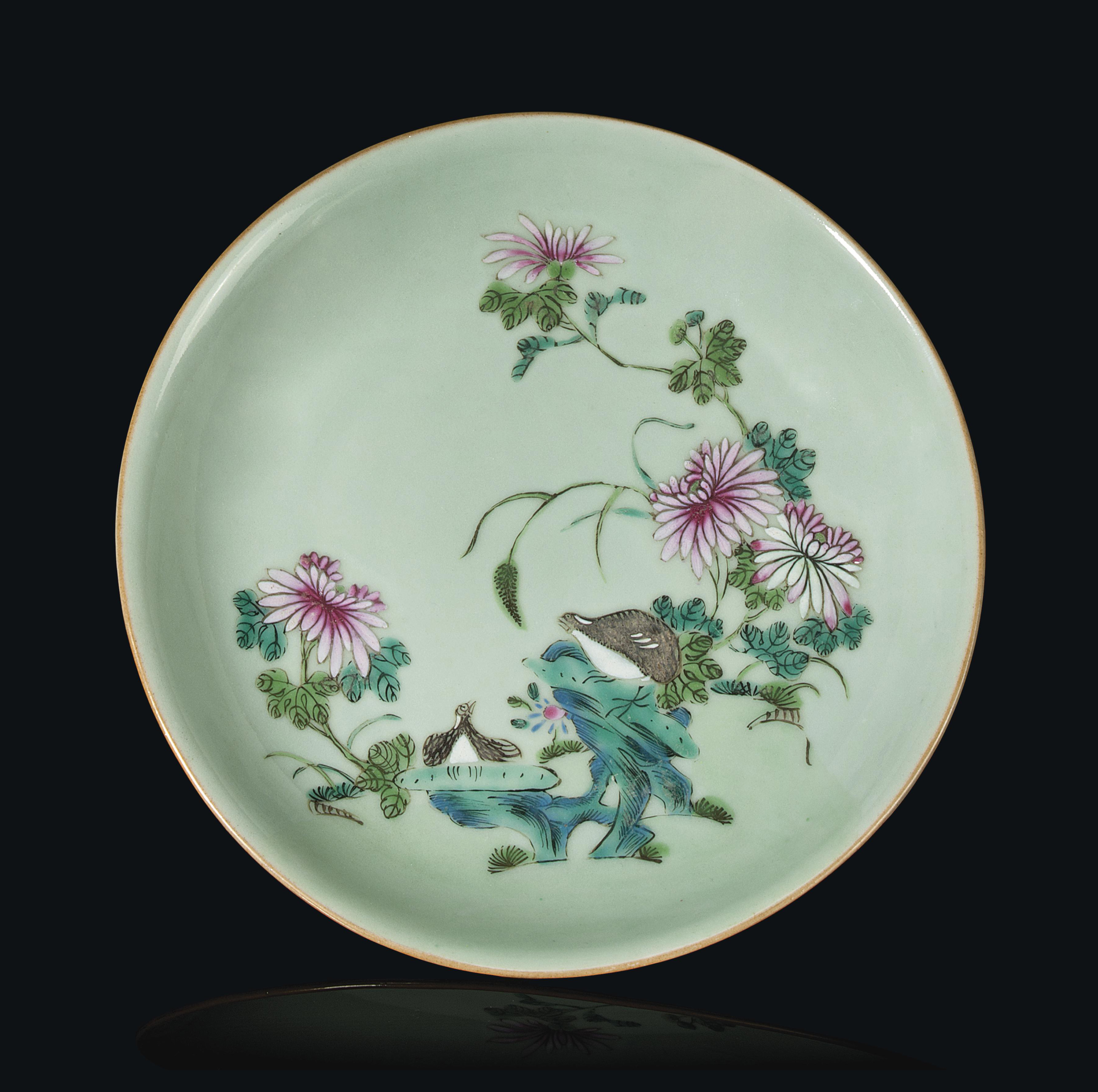 A CHINESE FAMILLE ROSE CELADON