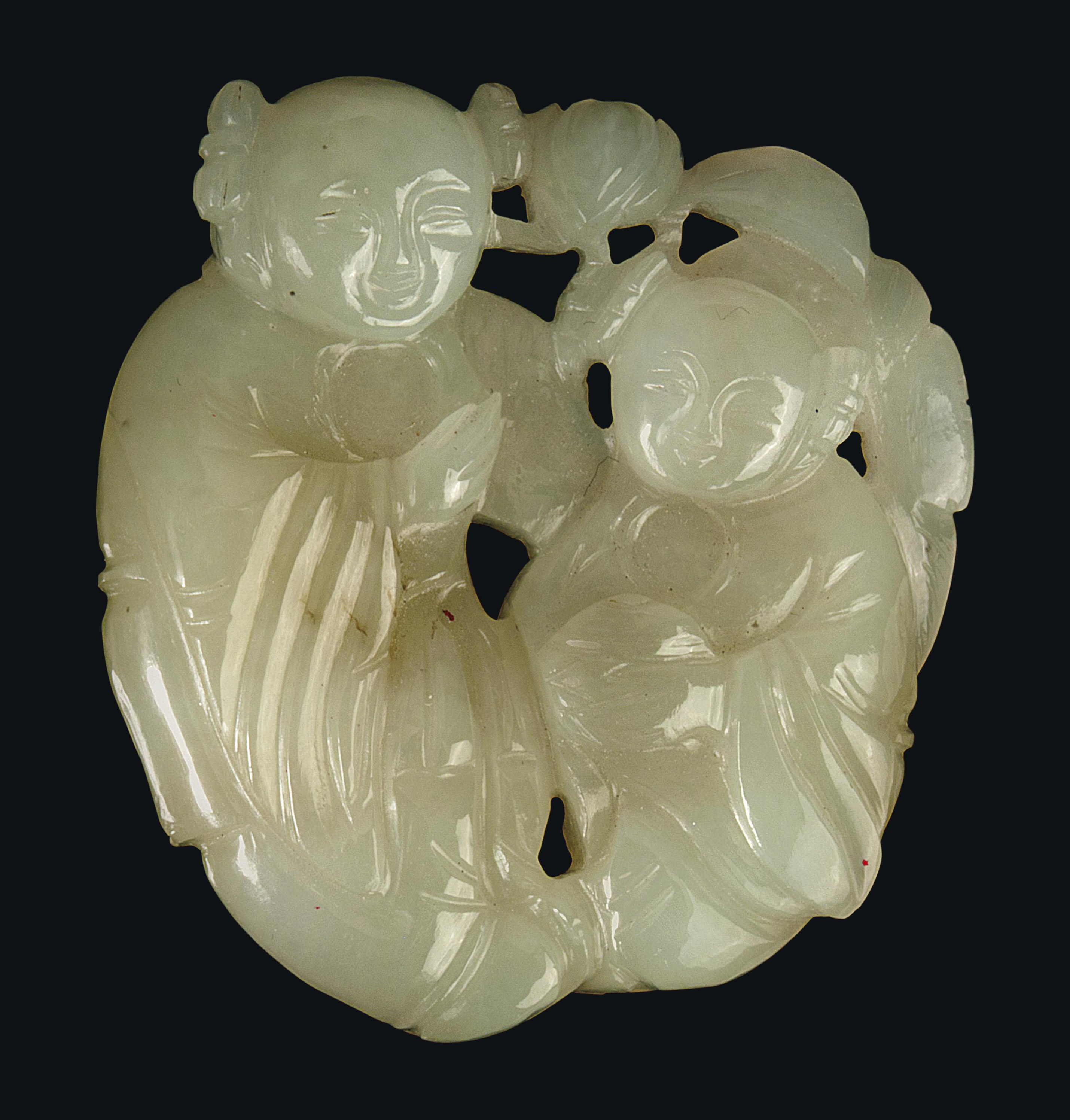 A CHINESE WHITE JADE DOUBLE BO