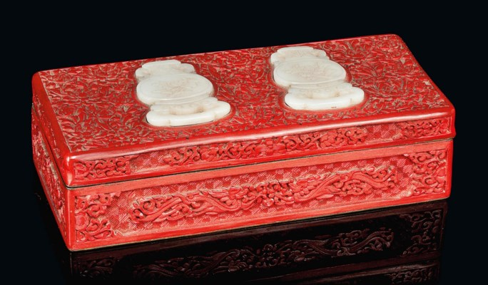 A CHINESE RED LACQUER BOX WITH