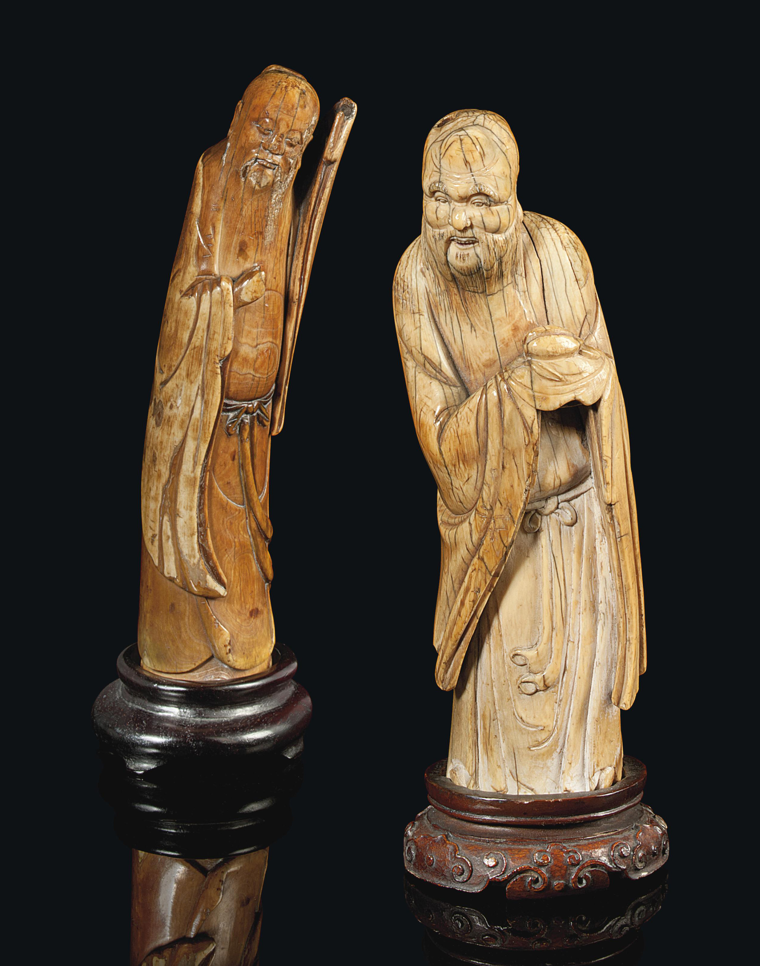 TWO CHINESE IVORY CARVING OF F