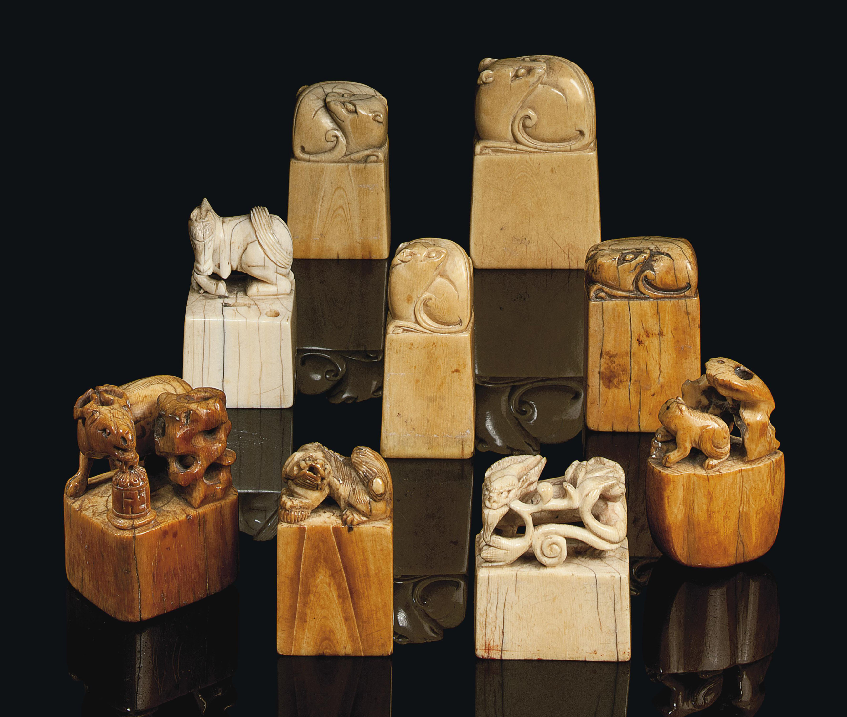 NINE CHINESE IVORY SEALS