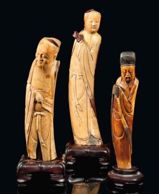 THREE CHINESE IVORY FIGURES
