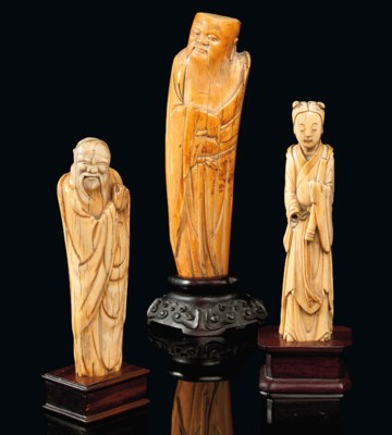 THREE CHINESE IVORY CARVINGS