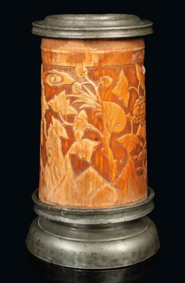 A CHINESE CARVED IVORY BRUSHPO