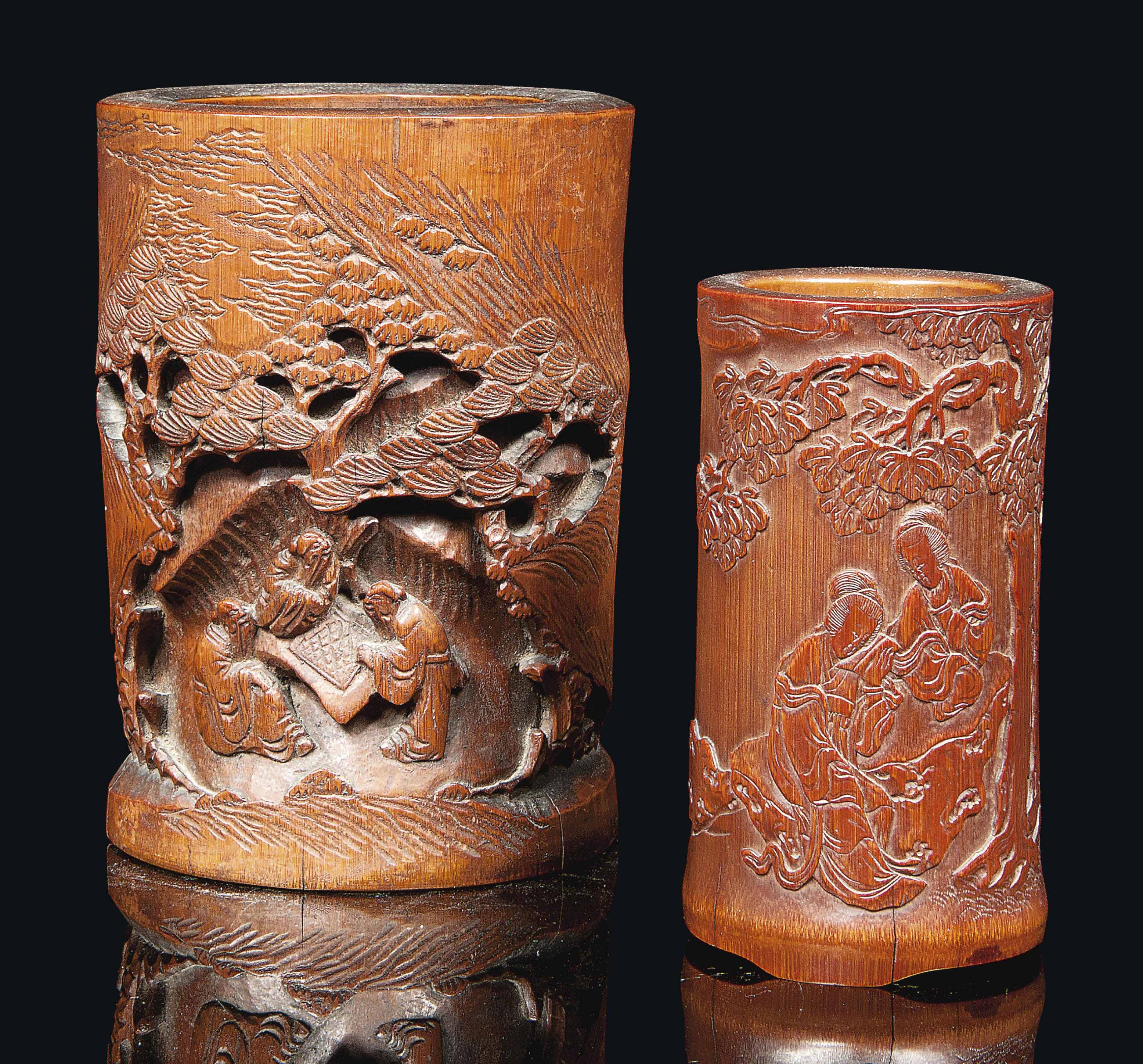 TWO CHINESE BAMBOO BRUSHPOTS