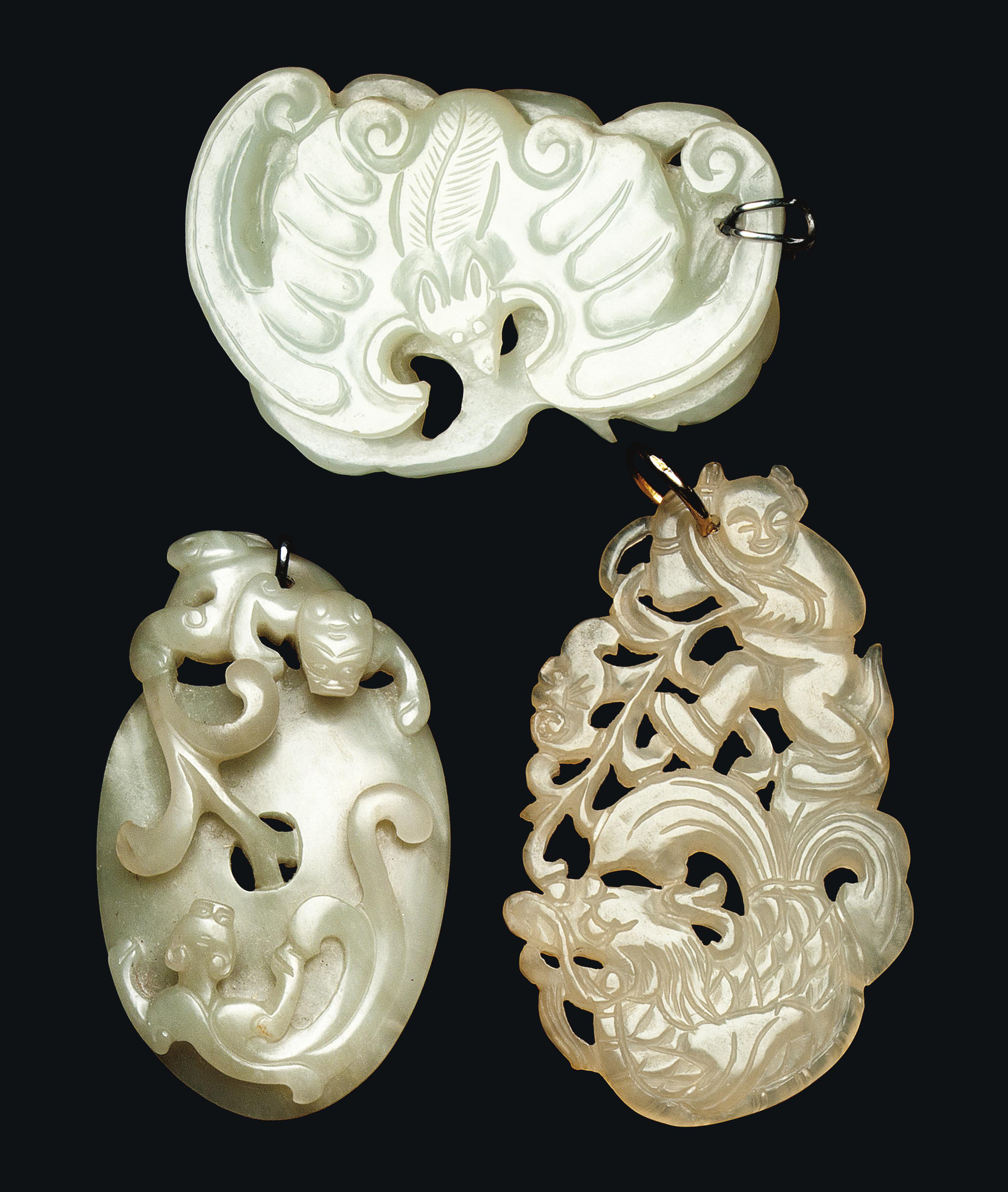 THREE CHINESE CELADON JADE PEN