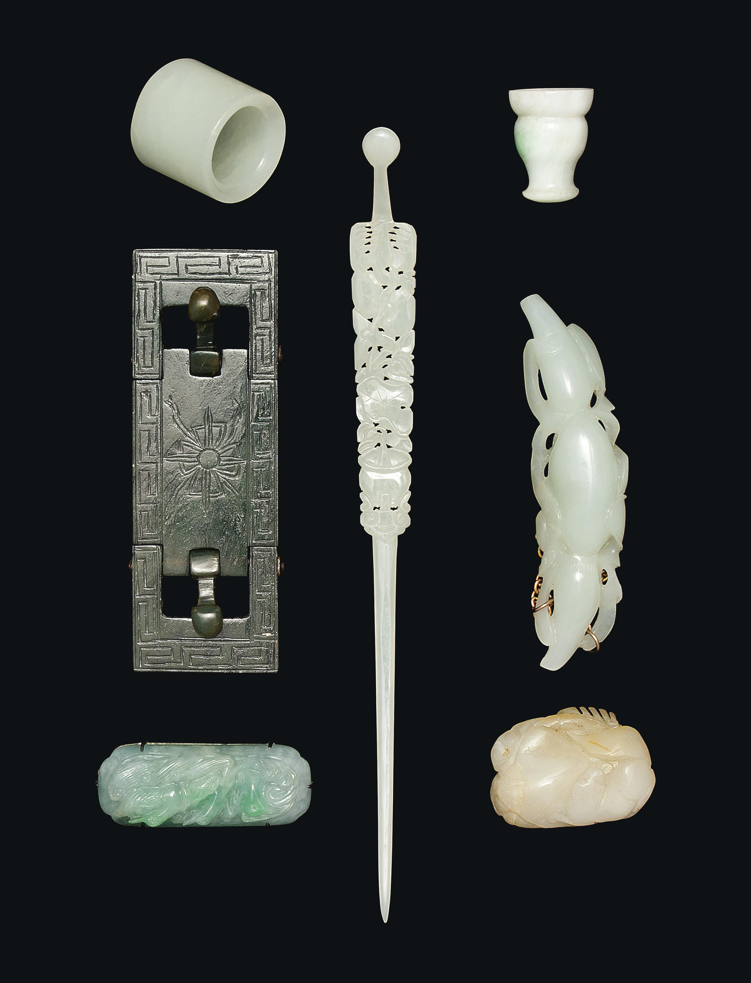SEVEN CHINESE JADE AND JADEITE