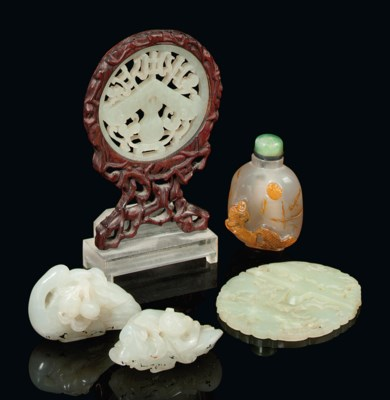 FOUR CHINESE JADE CARVINGS AND