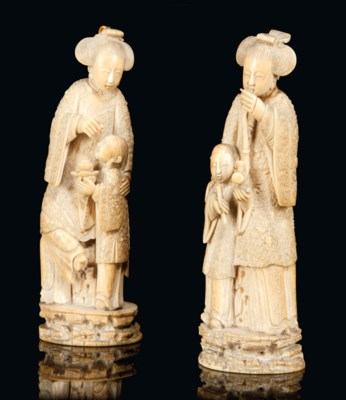 TWO CHINESE CARVED IVORY MODEL