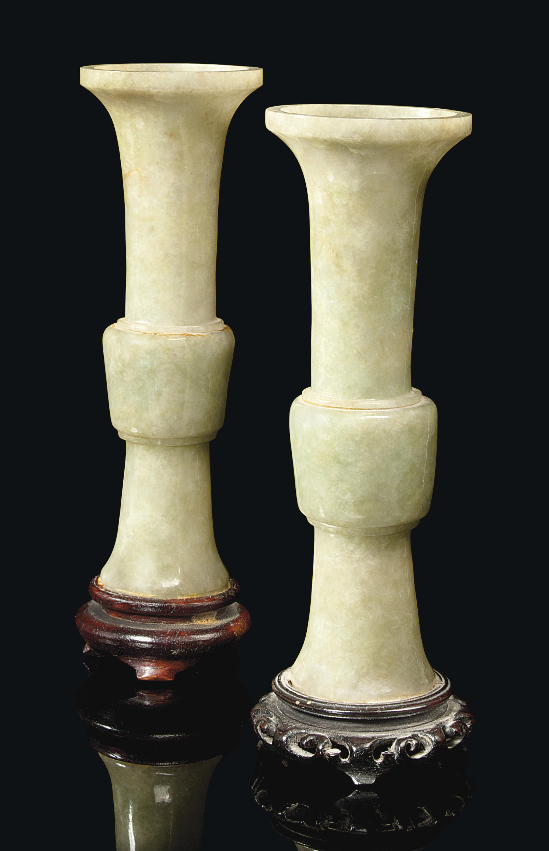 A PAIR OF CHINESE CELADON JADE