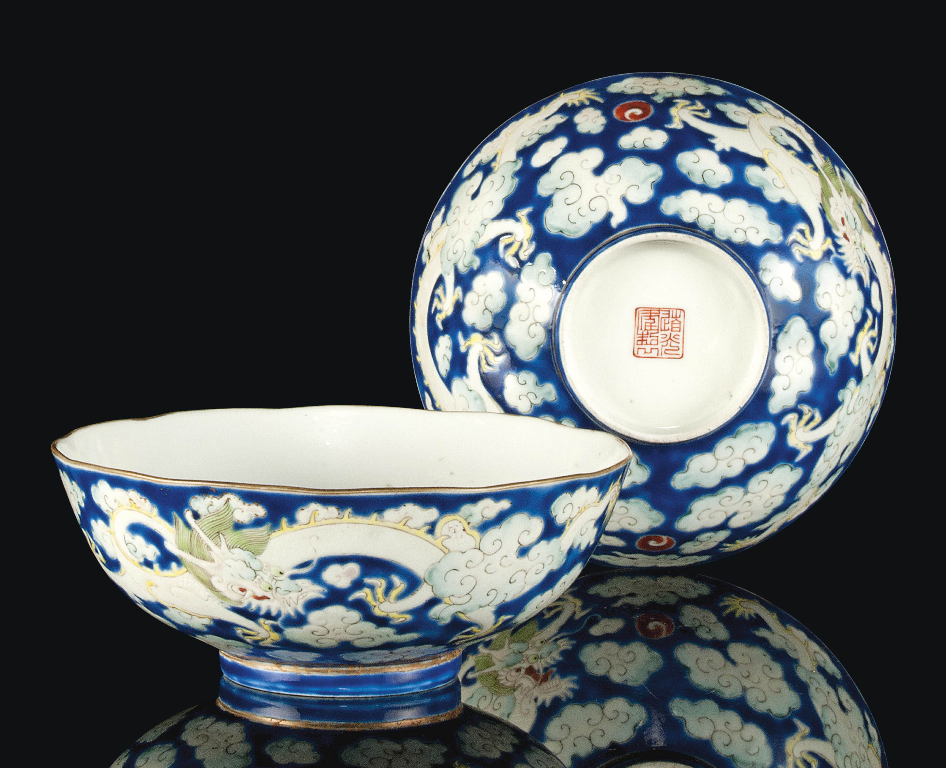 A PAIR OF CHINESE BLUE-GROUND