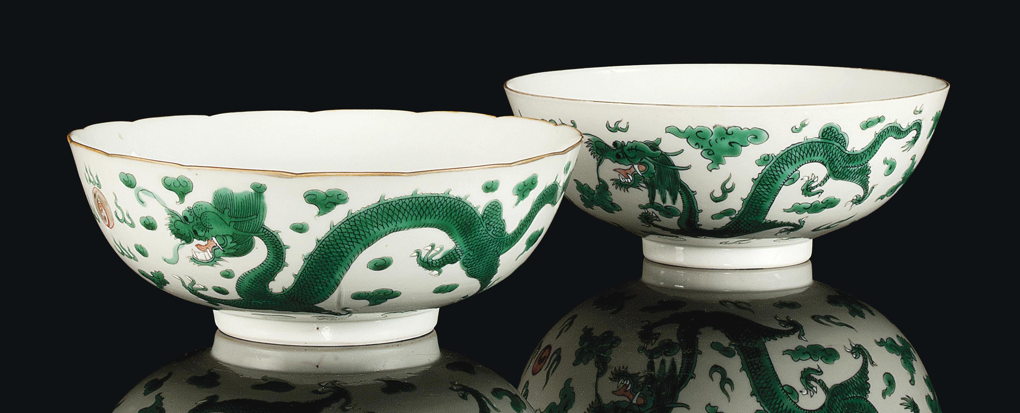 TWO CHINESE GREEN ENAMEL DECOR