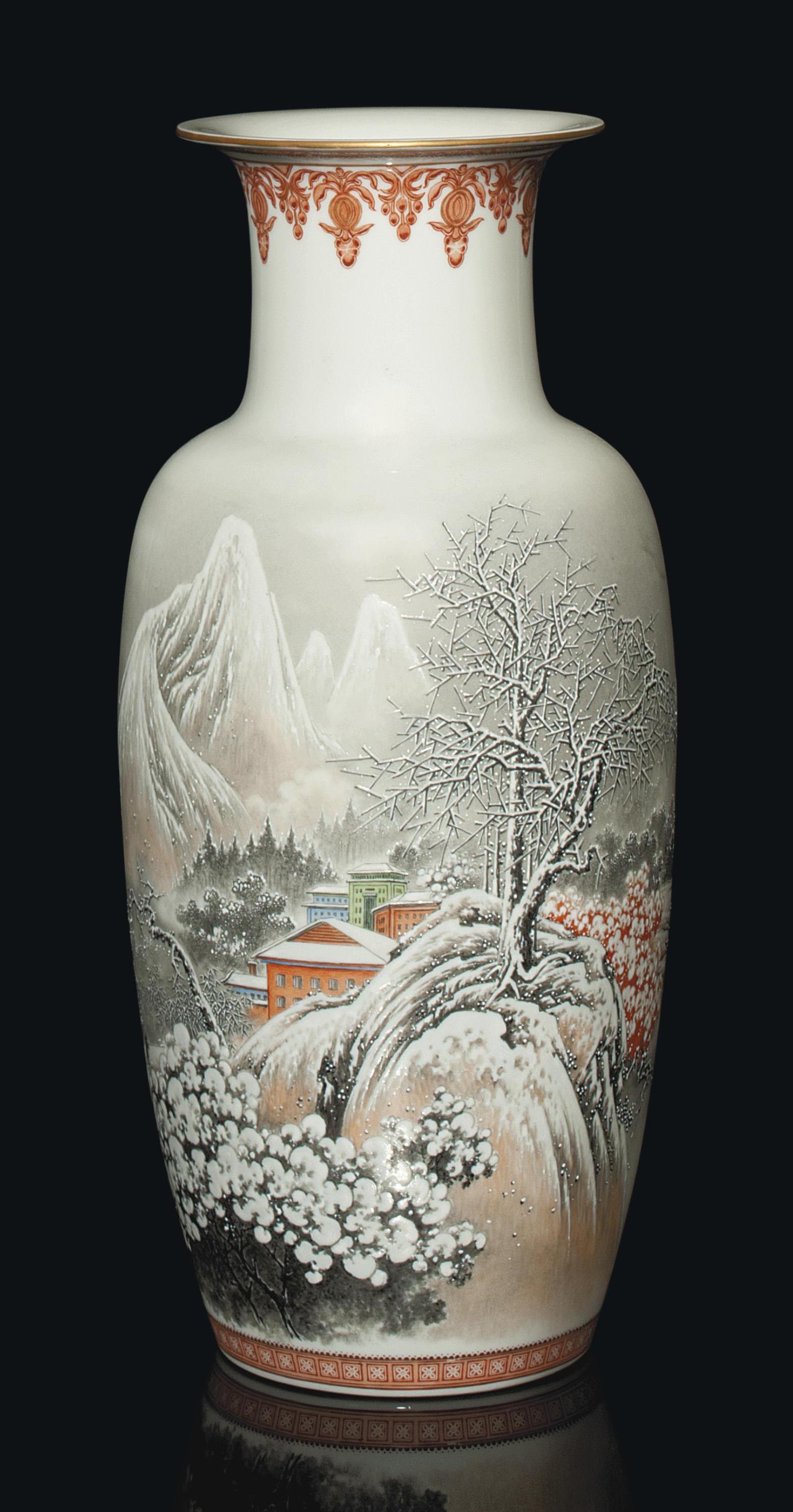 A CHINESE 'SNOW SCENE' VASE