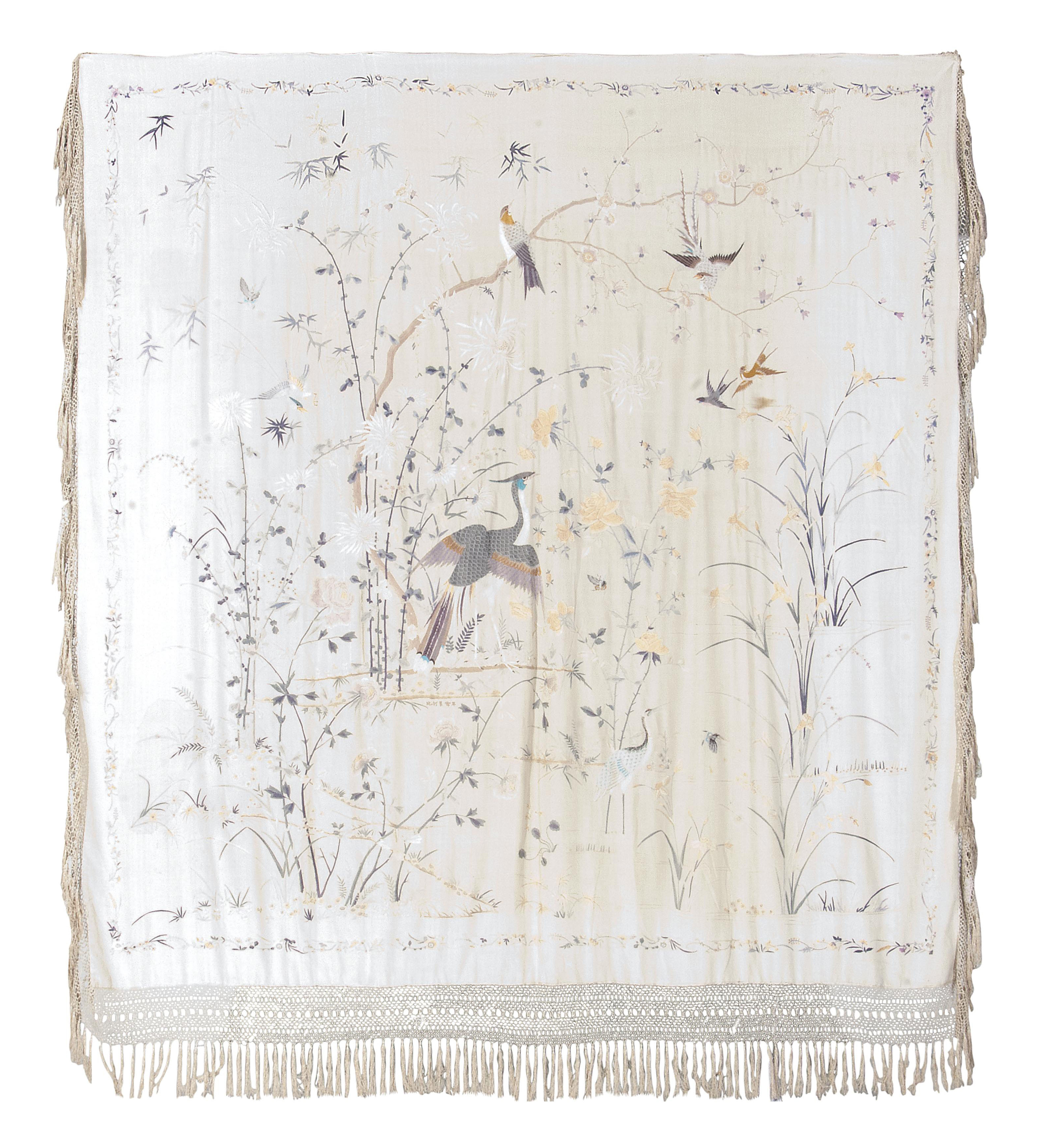 AN EMBROIDERED HANGING