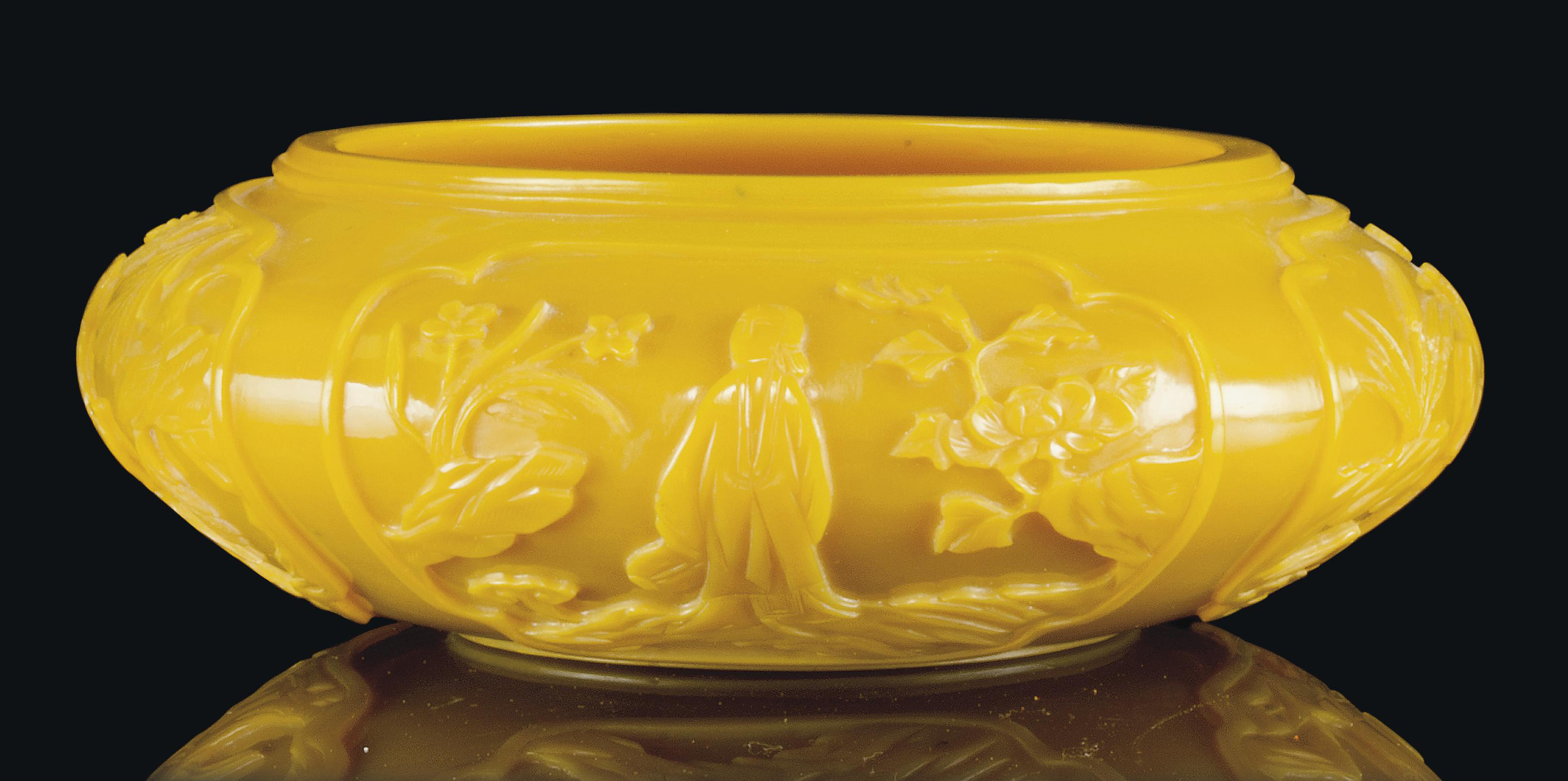 A CHINESE YELLOW OPAQUE GLASS