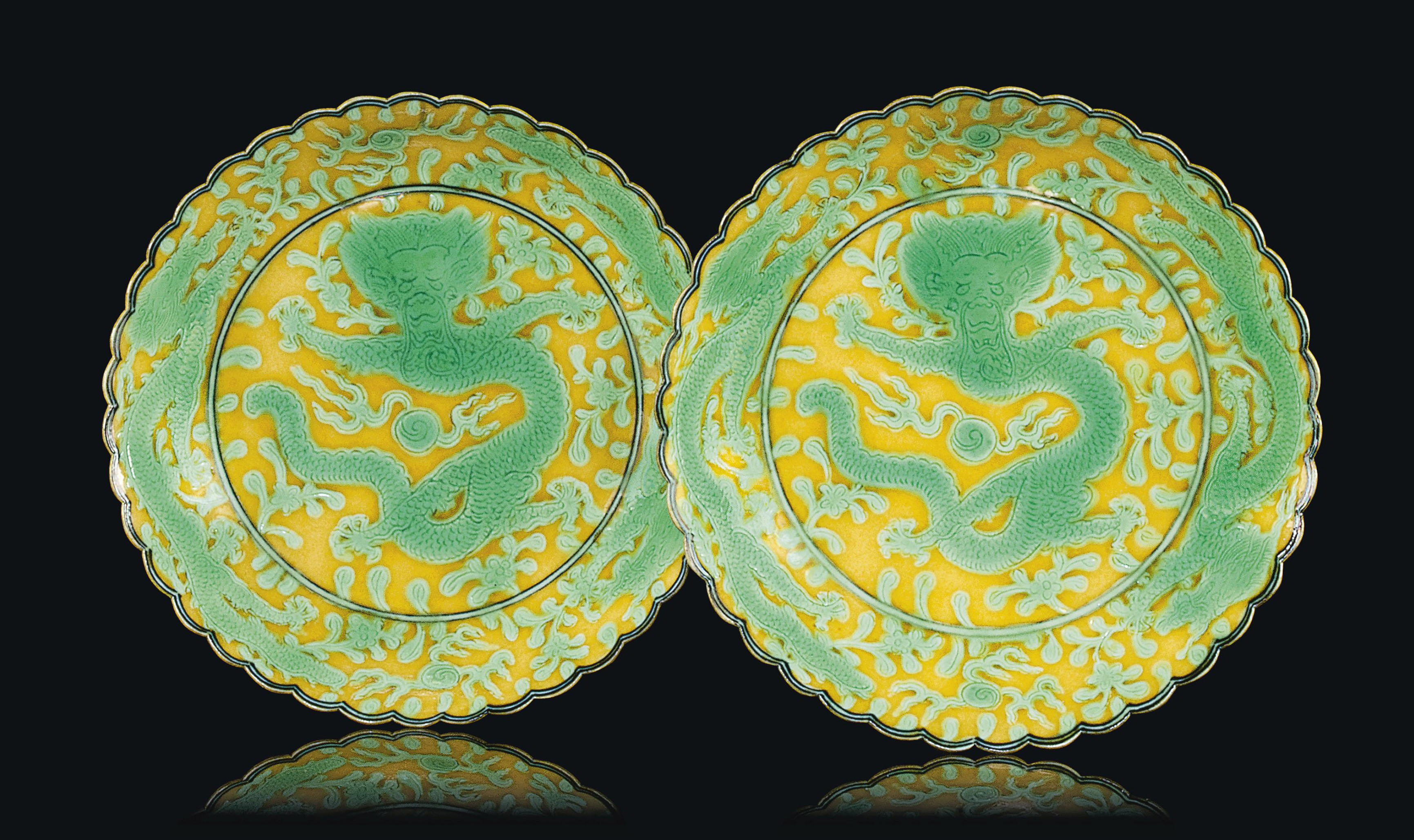 A PAIR OF CHINESE GREEN AND YE