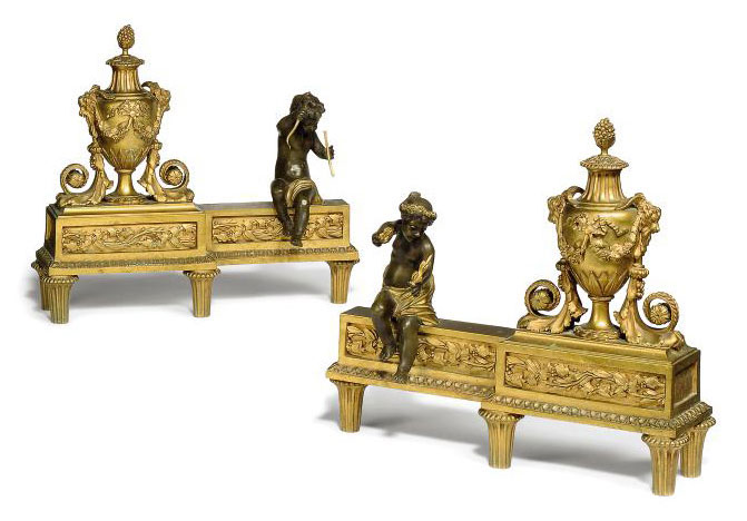 A PAIR OF FRENCH GILT-BRONZE CHENETS