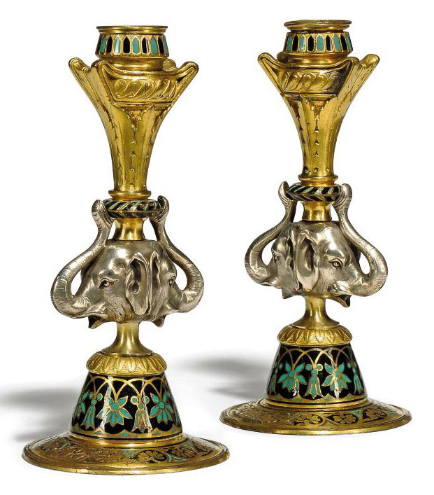 A PAIR OF ELKINGTON & MASON GILT, SILVER-PLATED AND ENAMELLED-BRONZE CANDLESTICKS