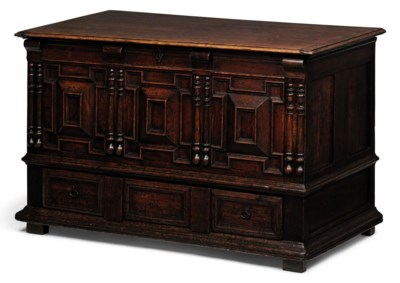 A WILLIAM & MARY CARVED OAK CH