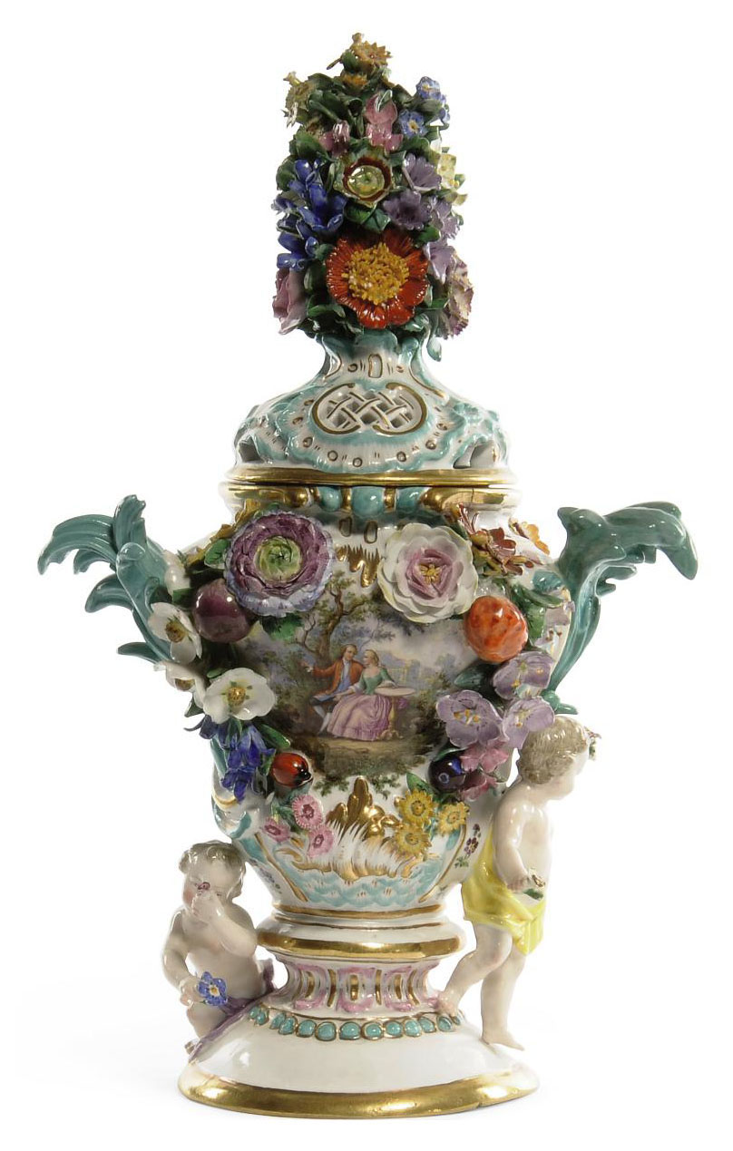 A MEISSEN TWO-HANDLED FLOWER-ENCRUSTED POT-POURRI VASE AND COVER