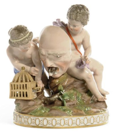 A MEISSEN GROUP OF TWO PUTTI A