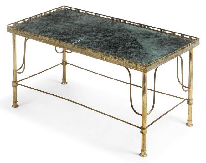 A BRASS AND GREEN MARBLE MOUNTED LOW TABLE