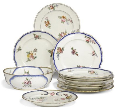 A GROUP OF SEVRES DESSERT WARE