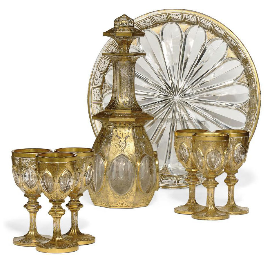 A BOHEMIAN CUT-GLASS LIQUEUR SET