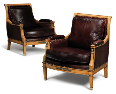 A PAIR OF BEECH AND GILT-METAL