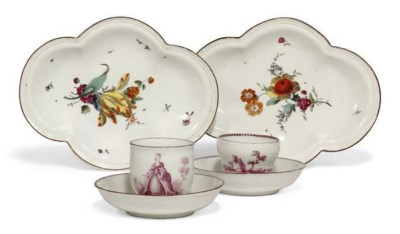 TWO VIENNA CUPS AND SAUCERS AN