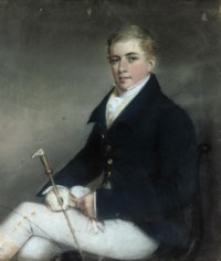 Portrait of a gentleman, small three-quarter-length, seated on a chair, in hunting attire, a riding crop in his right hand