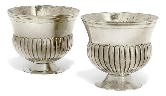A PAIR OF GERMAN PARCEL-GILT SILVER THISTLE-SHAPED CUPS