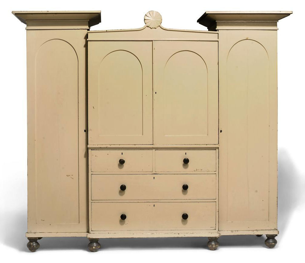 A WILLIAM IV PAINTED PINE WARDROBE