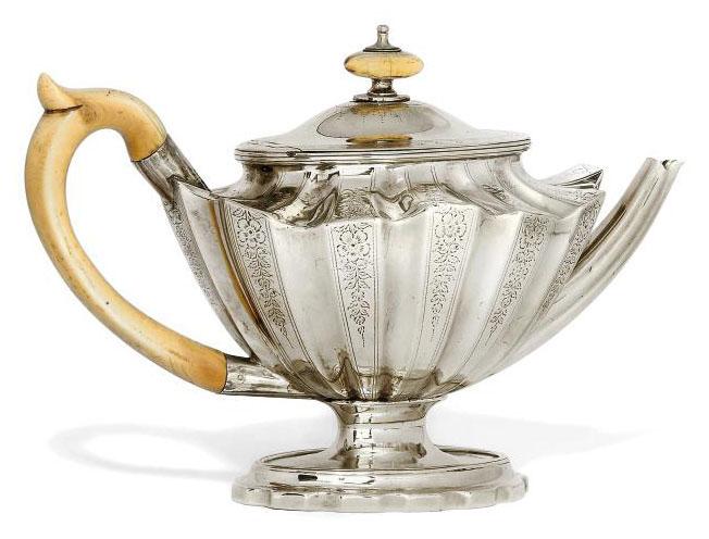 "A GEORGE III SILVER ""ALADDIN'S LAMP"" TEAPOT"