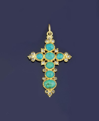 An antique gold, turquoise and