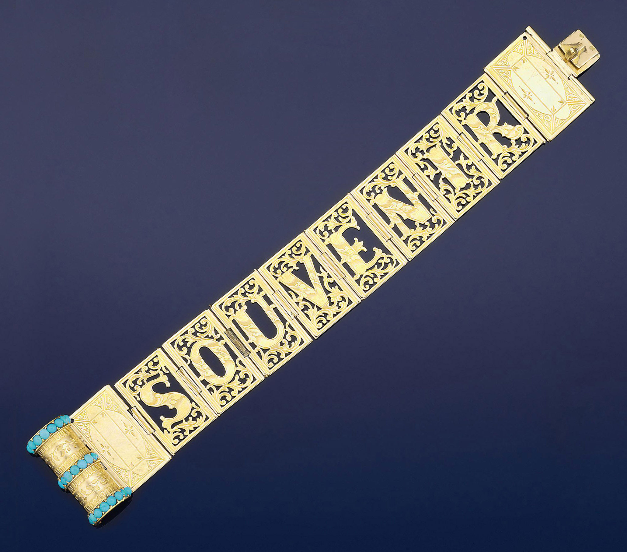 A Victorian gold and turquoise novelty bracelet