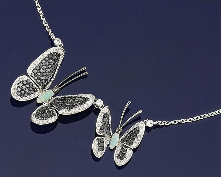 A diamond, coloured diamond and opal novelty necklace