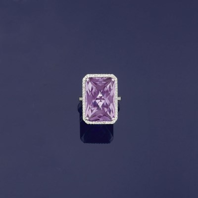 An amethyst and diamond ring
