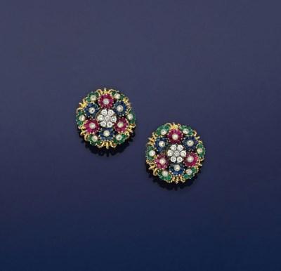 A pair of diamond, ruby, sapph