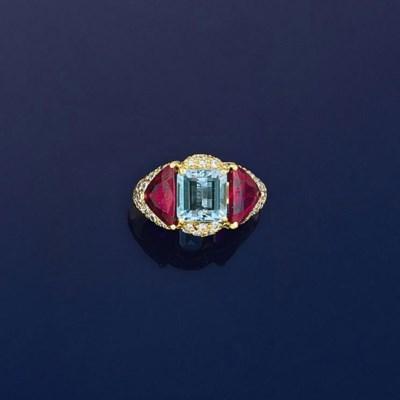 An aquamarine, ruby and diamon
