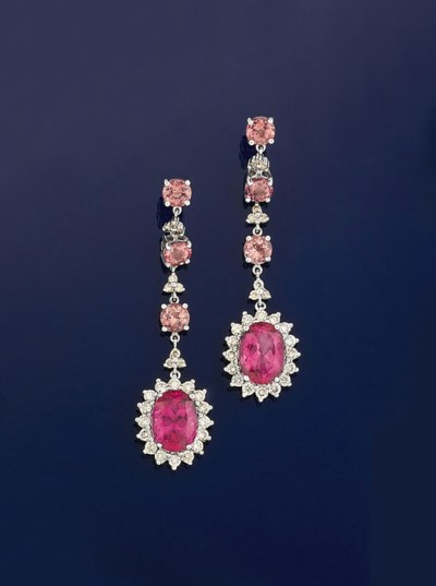 A pair of pink tourmaline and