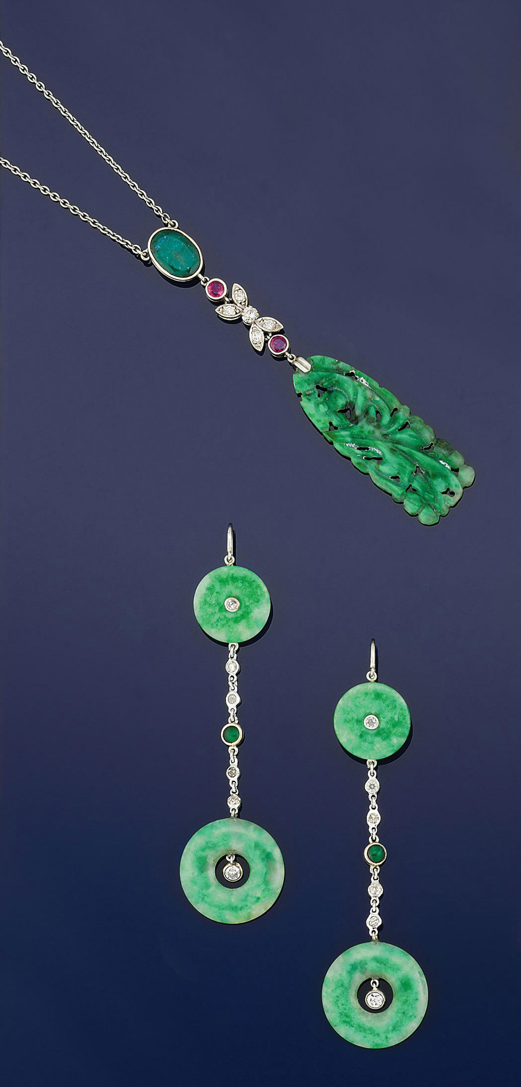 A pair of jadeite jade and diamond earpendants and a jadeite jade, ruby and emerald pendant necklace