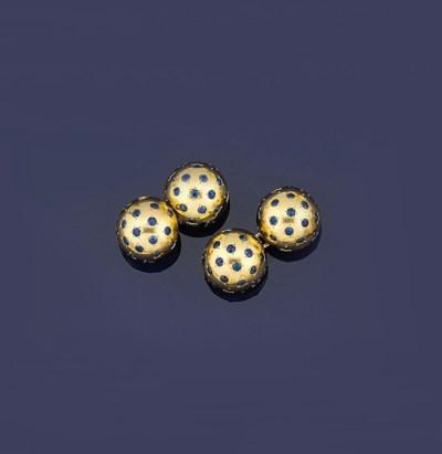 A pair of sapphire-set cufflin