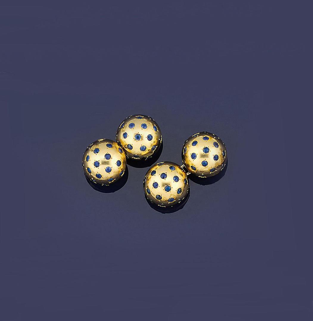 A pair of sapphire-set cufflinks, by Van Cleef & Arpels